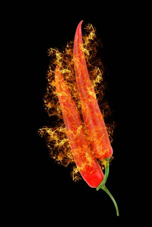 red hot chili peppers isolated on black