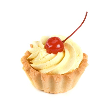 fresh baked cherry cupcake isolated on white and cherry photo