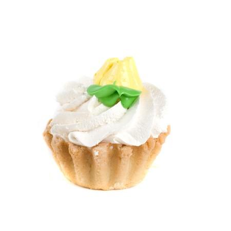 fresh cream cupcake isolated on white and cherry photo