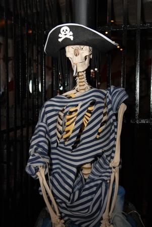 skeleton pirate with cigarette photo