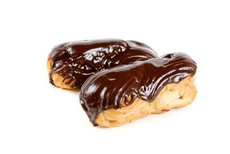 Chocolate Cream eclairs isolated on a white background Stock Photo - 7560963