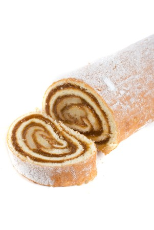 Swiss roll closeup isolated on a white background photo
