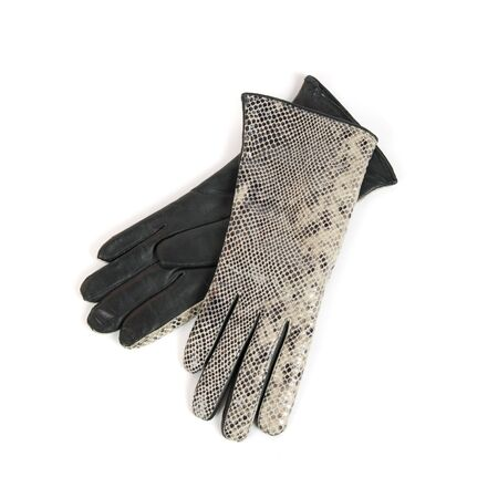 Grey modern female leather gloves isolated on a white photo