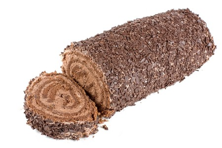 Chocolate Swiss roll closeup isolated on a white background Stock Photo - 7560993