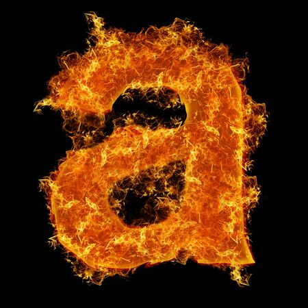 Fire small letter A on a black background photo
