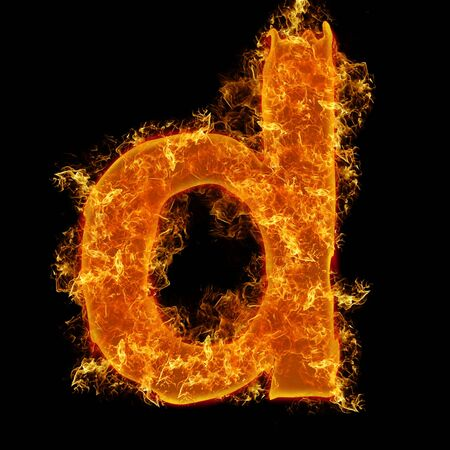 Fire small letter D on a black background