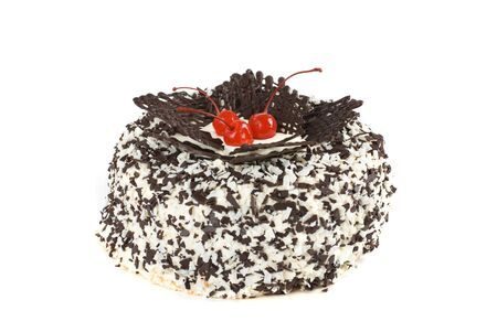 chocolate cake with berry isolated on a white Stock Photo - 7608611