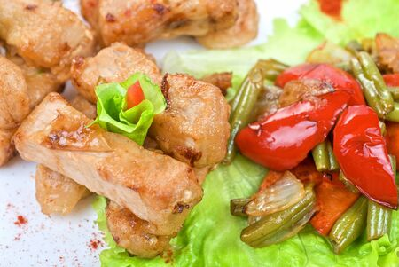Orient salad with spicy chicken meat and roasted vegetables photo