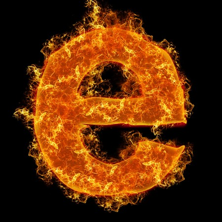 Fire small letter E on a black background photo