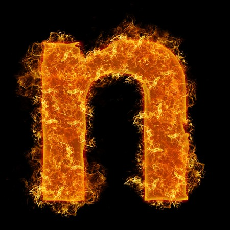 witchcraft: Fire small letter N on a black background Stock Photo