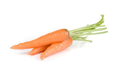 Ripe carrots isolated on a white background