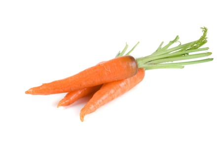 Ripe carrots isolated on a white background photo
