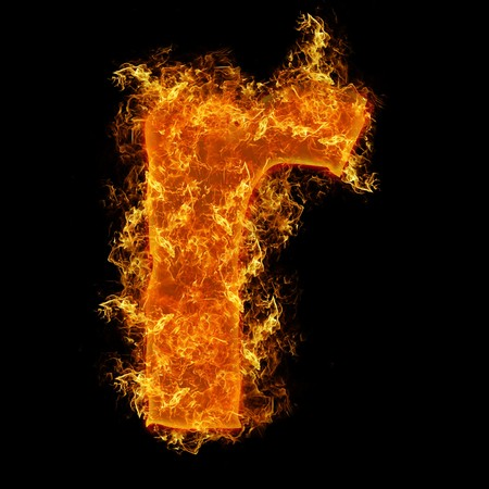 Fire small letter R on a black background