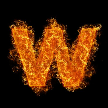 Fire small letter W on a black background photo