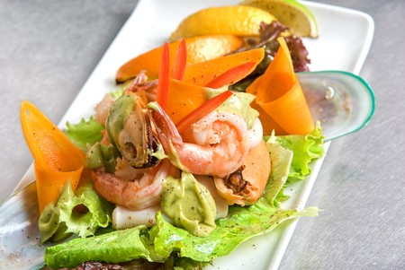 appetizer closeup dish of seafood and vegetables photo