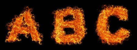 Set of Fire letter ABC on a black background photo