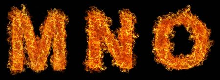 Set of Fire letter M N O on a black background photo