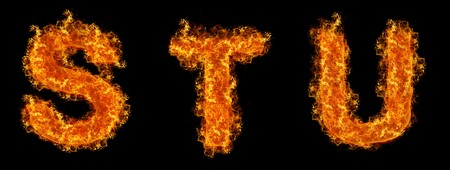 u s: Set of Fire letter S T U on a black background