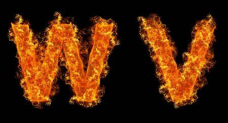 Set of Fire letter W V on a black background photo