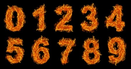 numbers abstract: Fire numbers set on a black background