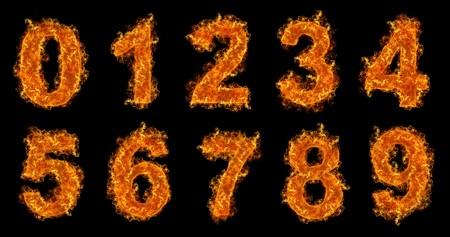 numero uno: N�meros de establecer sobre un fondo negro de incendios