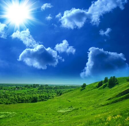 summer landscape of green valley and blue sky Stock Photo - 7699919