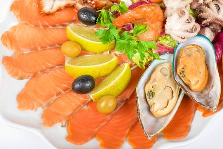appetizer closeup of different seafood and vegetables Stock Photo - 7699910