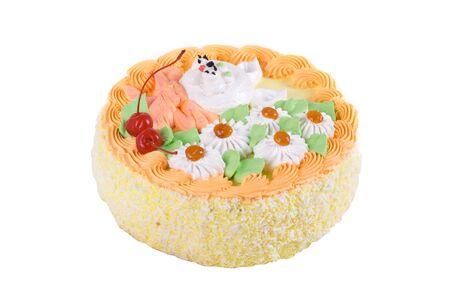 cream cake closeup with cherry on a white Stock Photo - 7753565
