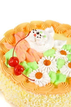 cream cake closeup with cherry on a grey Stock Photo - 7753610