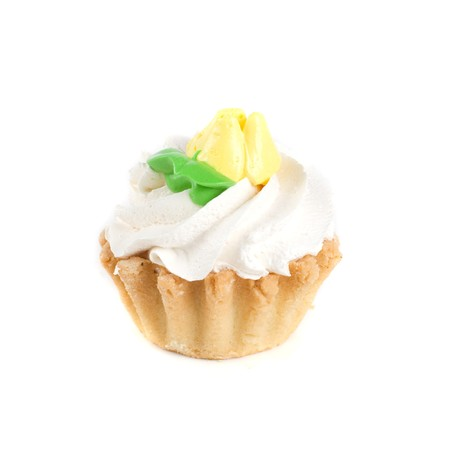 fresh cream cupcake isolated on white and cherry photo