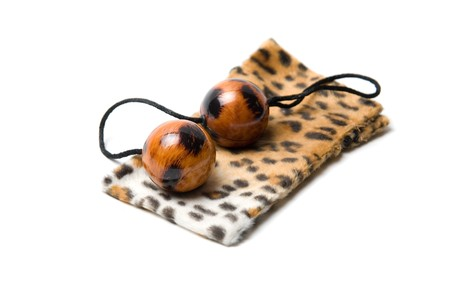 Leopard vaginal balls with case isolated on a white Stock Photo - 7753468