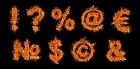 Set of Fire signs on a black background photo