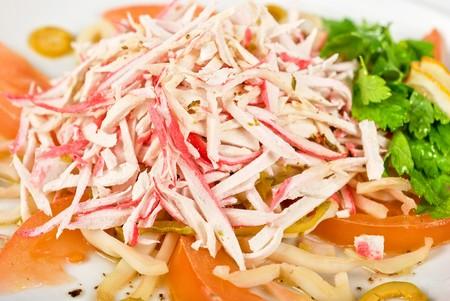 crabmeat: salad of crab meat closeup