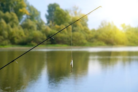 fishing catches: fishing rod at lake. summer sunny day