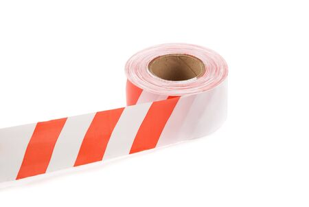 Plastik: striped safety ribbon on a white background