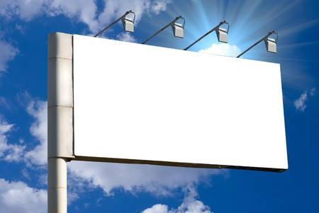 Blank billboard over blue sky background Stock Photo - 7816373
