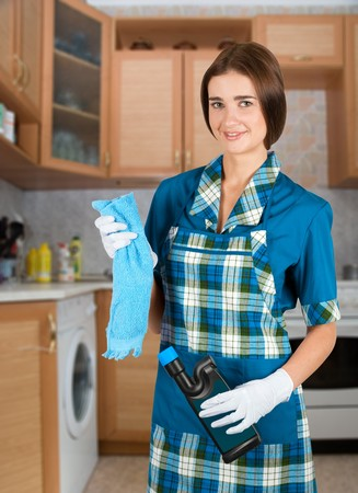 disinfecting: Beauty housewife with duster and detergent