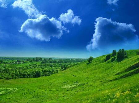summer landscape of green valley and blue sky Stock Photo - 7943892