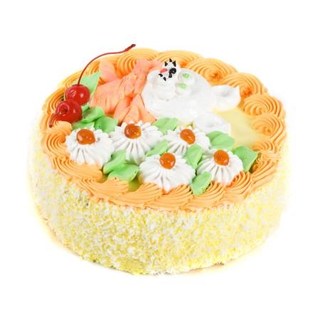 cream cake closeup with cherry on a grey 写真素材