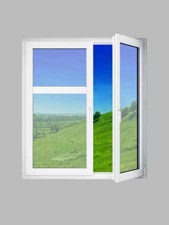 Open window at grey wall and the summer landscape photo