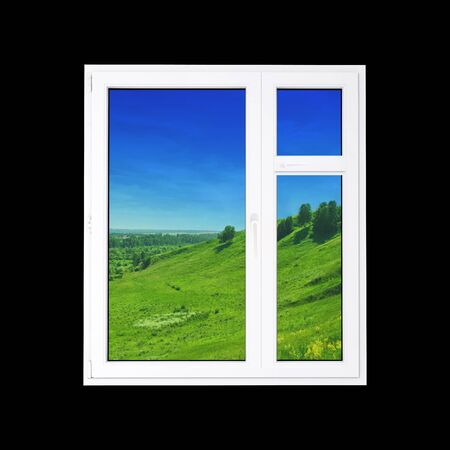 window at black wall and the summer landscape photo