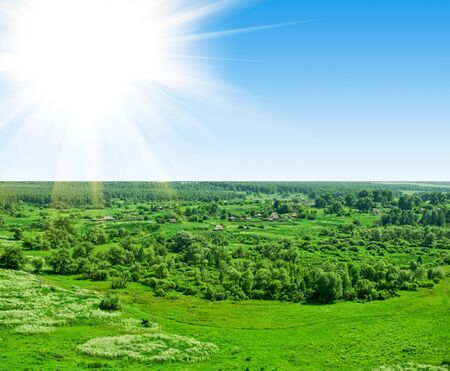 summer landscape of green valley and blue sky Stock Photo - 8012172