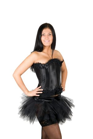 sexy ballerina at black corset isolated on a white Stock Photo - 8080436