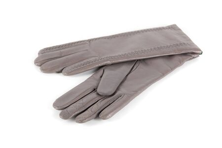 gray modern female leather gloves isolated on a white photo