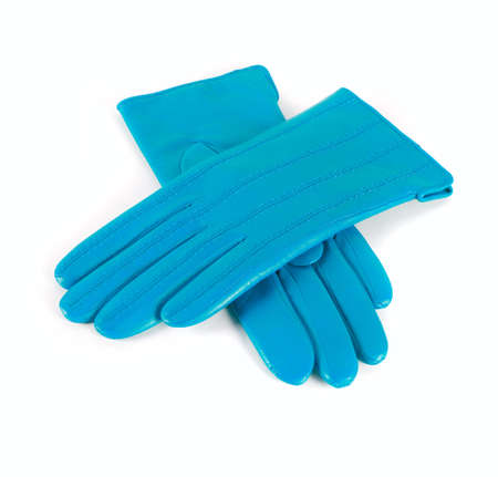 Blue modern female leather gloves isolated on a white photo
