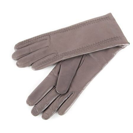 furskin: gray modern female leather gloves isolated on a white Stock Photo