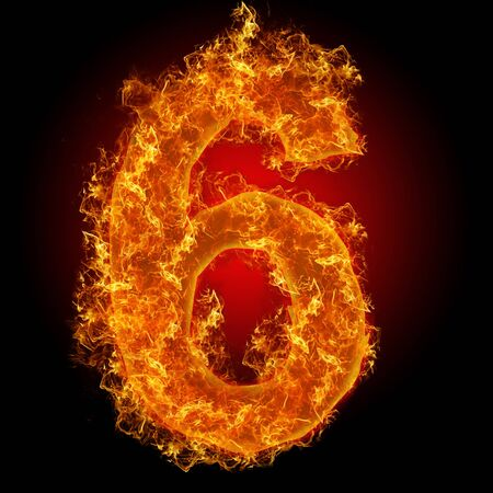 Fire number 6 on a black background Stock Photo - 8248706