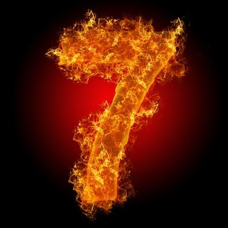 flamboyant: Brand nummer 7 op een zwarte achtergrond Stockfoto