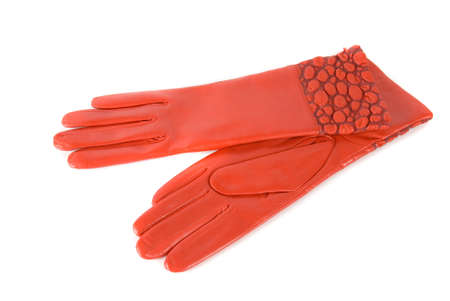 furskin: red modern female leather gloves isolated on a white Stock Photo
