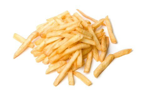 frites: French fries potatoes on a white background